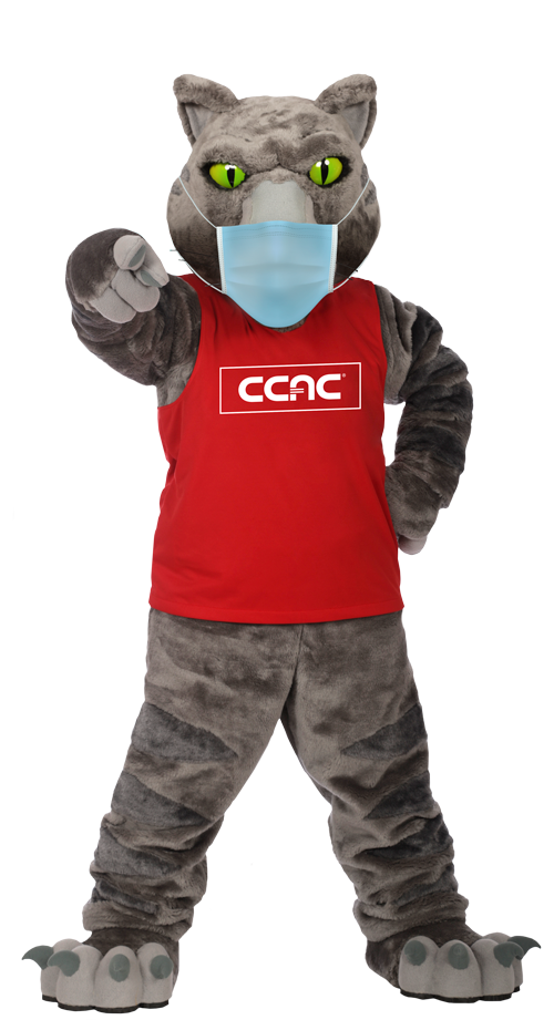 CCAC'S mascot wearing a face mask and red jersry shirt standing against a transparent background pointing his finger at the camera.