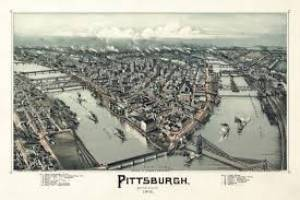 Old map of Pittsburgh's three rivers