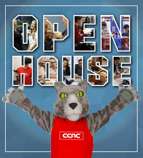 Open House with wild cat mascot holding his arms up