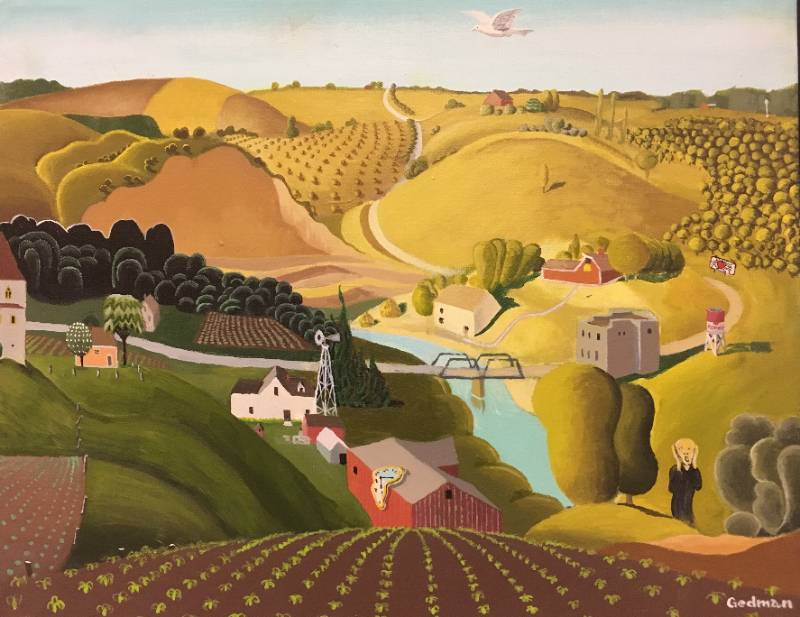 A farming landscape painting with rolling hills a stream and a little bridge