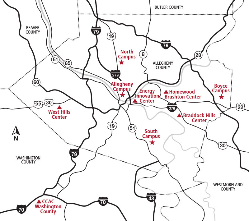 Ccac Allegheny Campus Map Campuses and Centers