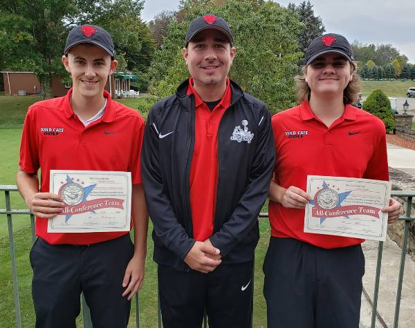 CCAC Golfers Dominic Achille, left, and Blake Martin with Coach Robert Keslar